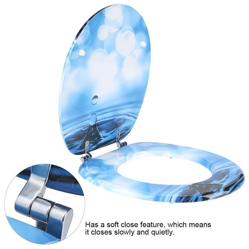 3D Soft MDF Round Toilet Seat Adjustable Hinge Home Bathroom Use,Drip