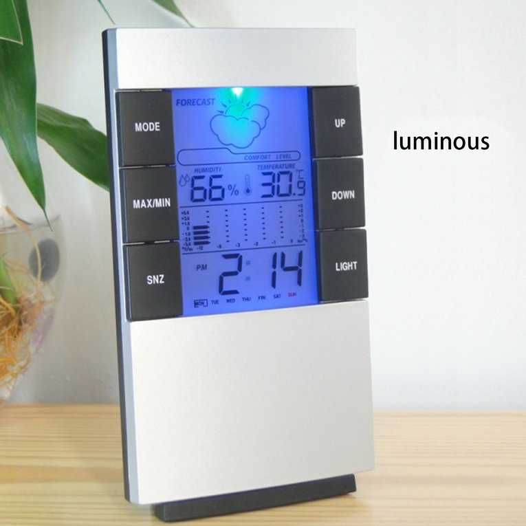 Digital LCD Thermometer Hygrometer Indoor Temperature Humidity Monitor Clock