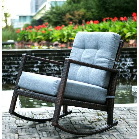Image of Merax Cushioned Rattan Rocker Chair Patio Glider Lounge Wicker Chair with Cushion(Grey Cushion)