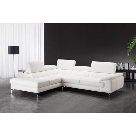 Sensational Jm Nila White Premium Italian Leather Sectional Sofa Left Hand Chaise Customarchery Wood Chair Design Ideas Customarcherynet