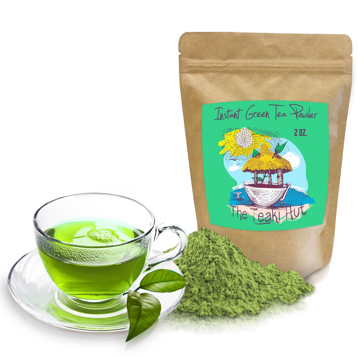 Instant Green Tea Powder 2 Ounce (100 Servings) 100 Percent Pure Tea No Fillers, Additives or Artificial Ingredients of Any Kind