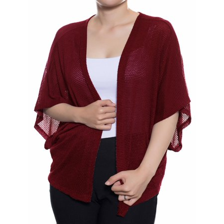 Made by Olivia Women's Casual Dolman Short Sleeves Loose Knit Kimono Cardigan [S-3X] - Made in USA Burgundy M Blend Dolman Sleeve Sweater