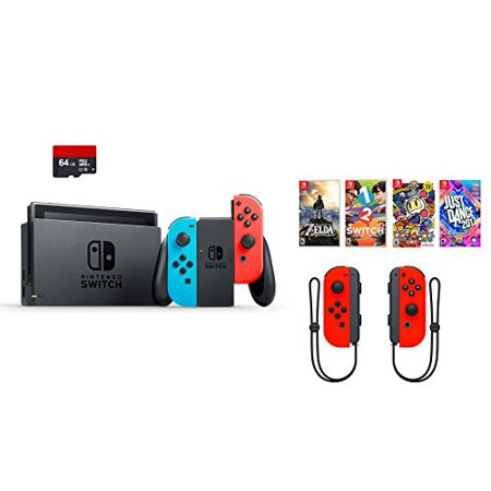 Nintendo Swtich 7 Items Bundle Nintendo Switch 32Gb Console Red And Blue  64Gb Sd Card And Nintendo Controllers Neon Red 4 Game Disc1 2 Switch Just Dance2017 The Legend Of Zelda Super Bomberman R