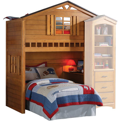 Acme Tree House Loft Bed With Bookcase Cabinet Rustic Oak