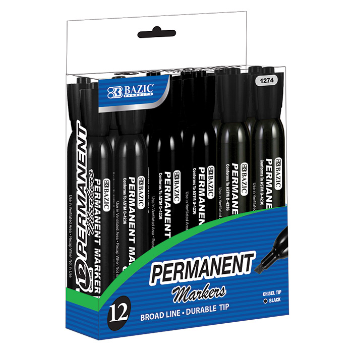 (Price/Case of 12)Bazic Products 1274-12 Black Color Chisel Tip Desk Style Permanent Markers (12/Box)
