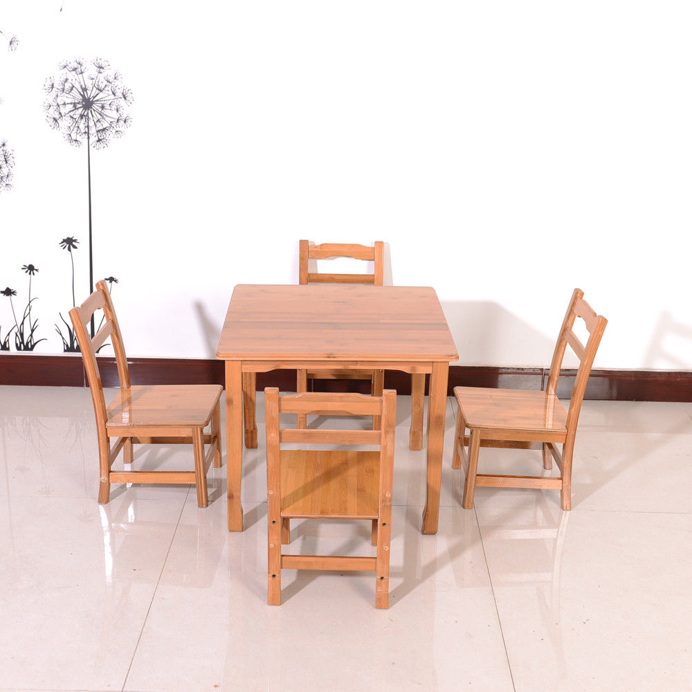 UBesGoo Kids Dining Table 5 Piece Table Chair Set Pine Wood Children Furniture Natural