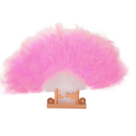 Wedding Showgirl Dance Elegant Large Feather Folding Hand Fan Decor Decal Pink](Feather Fans)