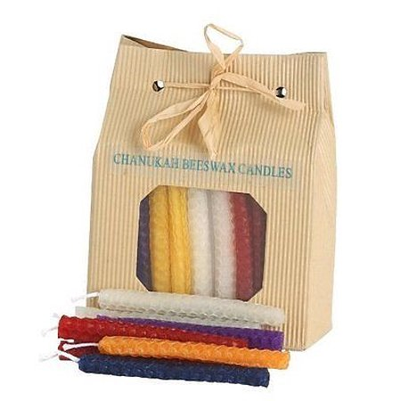 Chanukah Candles For Menorah Hanukkah Celebrations 45 Beeswax Candles Multi Col ()