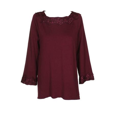 Style Co Petite Wine Lace-Trim Boat Neck Long Sleeve Tunic Sweater  PXL
