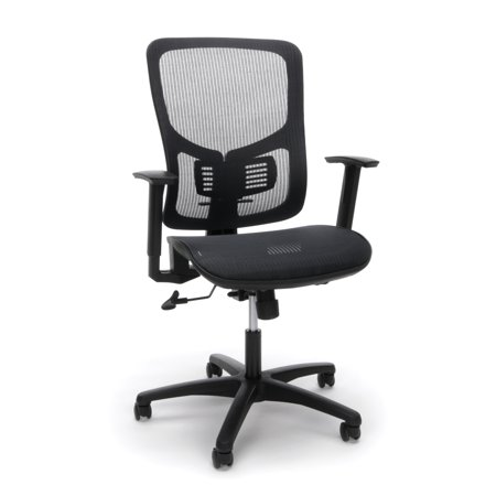 Essentials by OFM ESS-3055 Ergonomic Mesh Back and Seat Task Chair with Arms, Black Screen Back Mesh Seat Office