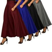 INNOVEE Fashion Women High Waist Long Maxi Skirts Ladies Full Length Skirt Dress S-2XL