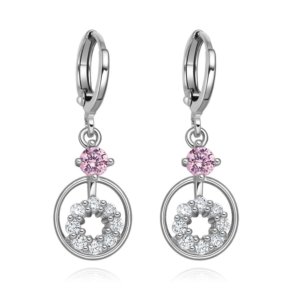 Small Cute Double Lucky Magic Circles Pink White Sparkling Crystals Silver-Tone Fashion Amulet Earrings
