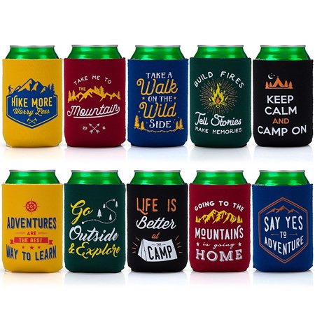 Avery Barn 10pc Neoprene Zipper Sleeve Insulated Beer Can Cover Sets Set 1: Great Outdoors (Beer Covers)