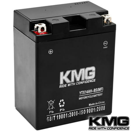 KMG Yamaha 350 YFM35FG Grizzly 2007-2012 YTX14AH-BS Sealed Maintenace Free Battery High Performance 12V SMF OEM Replacement Maintenance Free Powersport Motorcycle ATV Scooter Snowmobile
