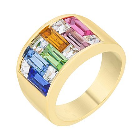 18k Gold Plated Ring with Light Multi-Color Alternated Princess and Baguette Cut Crystal Size 5 (Crystal Cushion Cut Ring)