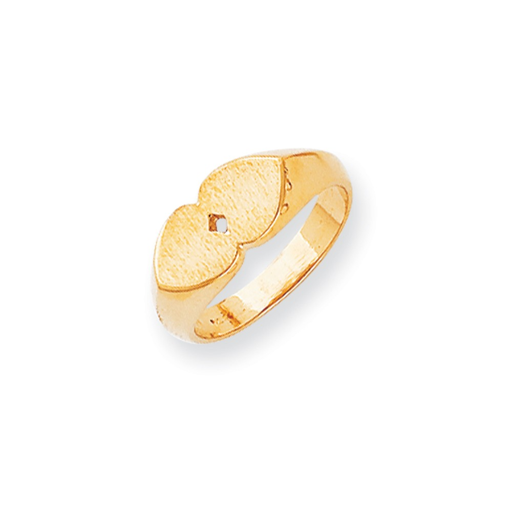 14k Yellow Gold Engravable Double Heart Signet Ring