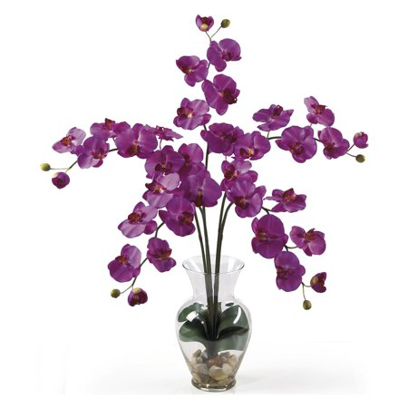 Nearly Natural Phalaenopsis Liquid Illusion Silk Flower Arrangement, Orchid