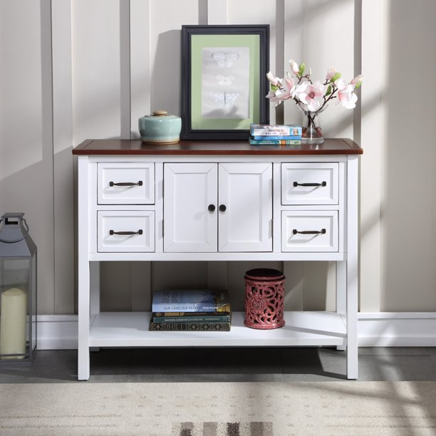 43 Modern Console Table Sofa White Wood With Brown Toptable Buffet Sideboard 4 Storage Drawers Living Room Entryway Decorative 220bs S9257 Com - Modern White Console Table With Storage