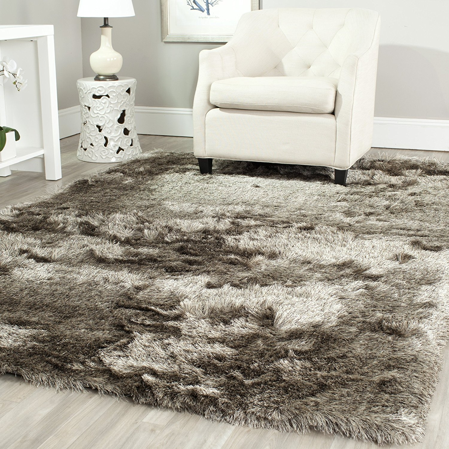 Safavieh Paris Shag Collection SG511-8383 Titanium Polyester Area Rug (4' x 6')