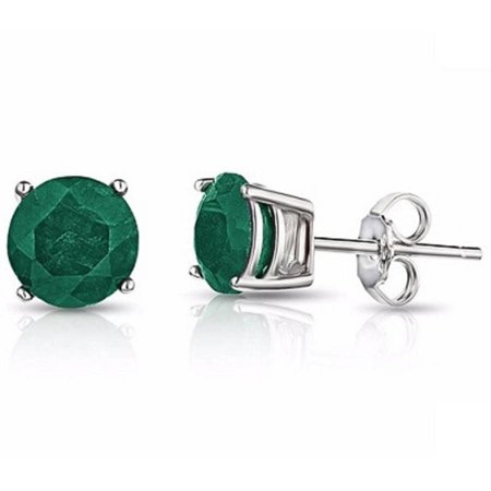 A&M  Genuine Birthstone Earrings Crafted From .925 Sterling Silver, Emerald
