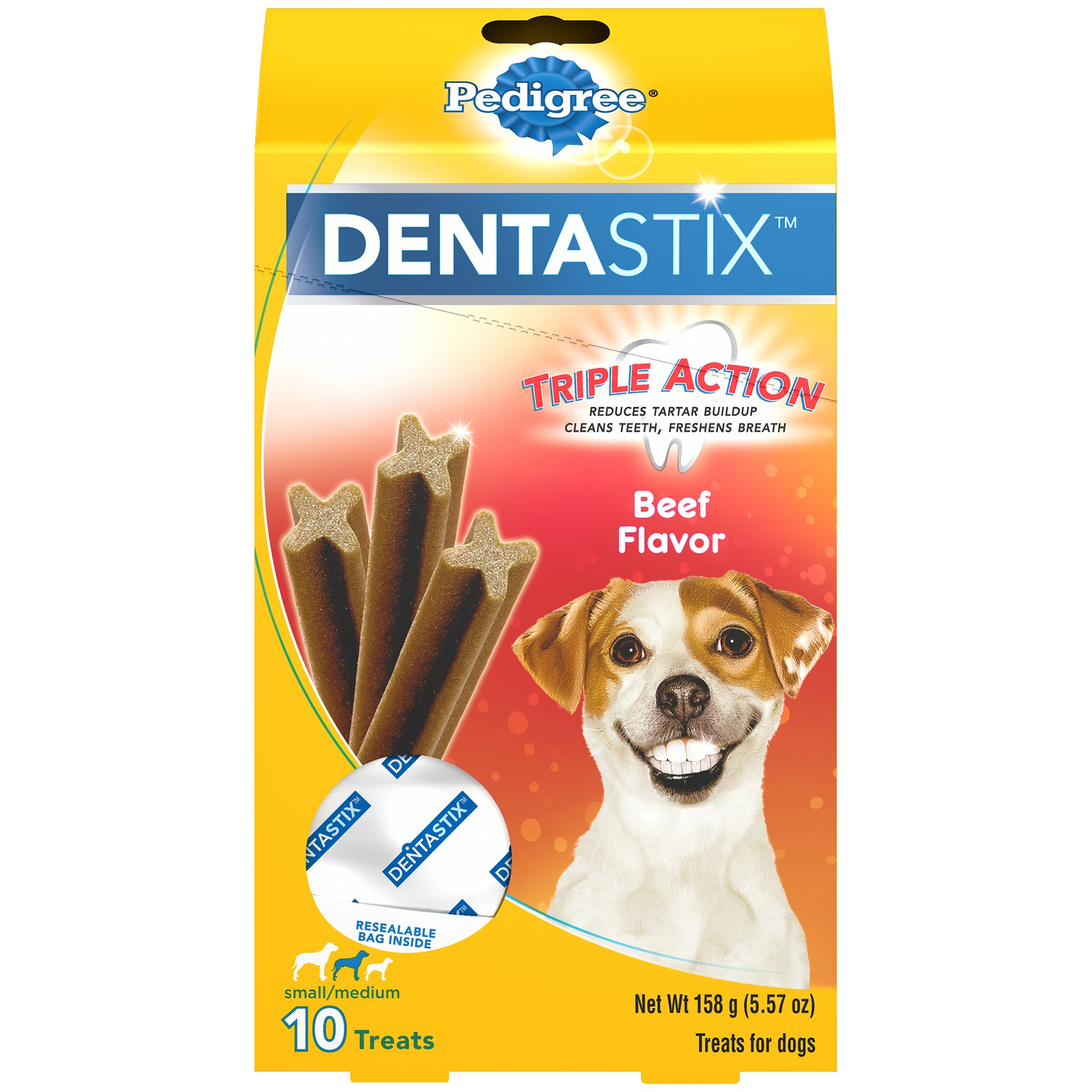 Pedigree Dentastix Small/Medium Beef Dog Treats, 10-Count