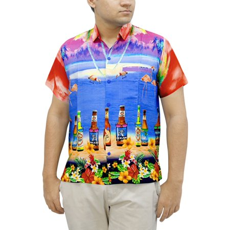 Flamingo Bottles Beach Wear Mens Short Sleeve Shirt Point Collar Casual Aloha Fathers Day Gifts Spring Summer 2017