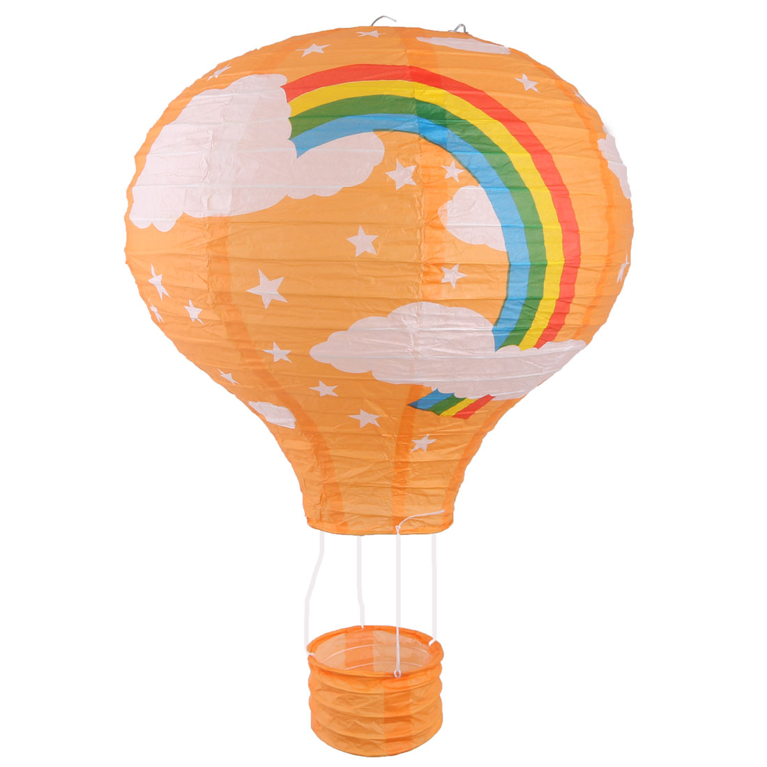 Paper Rainbow Pattern Lightless Hanging DIY Hot Air Balloon Lantern Orange