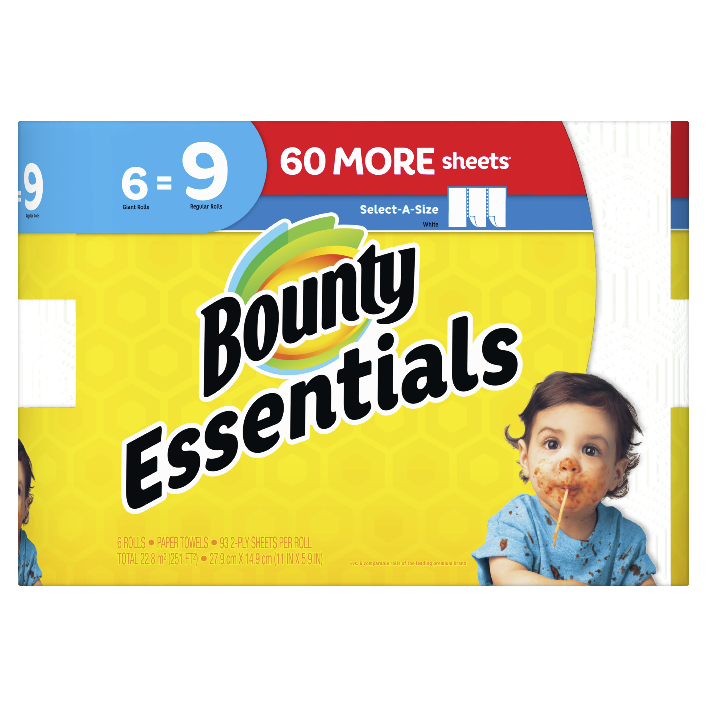 Bounty Essentials Select-A-Size Paper Towels, White, 6 Giant Rolls = 9 Regular Rolls