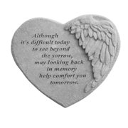 Kay Berry 08901 Winged Heart Memorial Stone - Although Its Difficult...