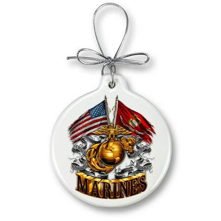 USMC MARINE CORPS DOUBLE FLAG GOLD GLOBE-Christmas Tree Ornaments (Globe Ornament)
