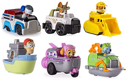 Paw Patrol Rescue Racers Set of 6. Robo Dog, Skye Spaceship, Tracker Jungle Pup, Rubble, Rockys Boat, and... by SPIN MASTER