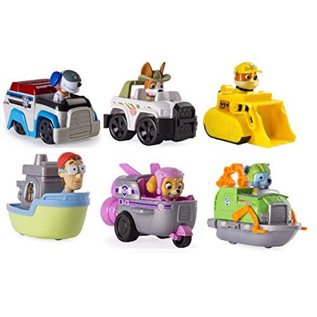 Paw Patrol Rescue Racers Set of 6. Robo Dog, Skye Spaceship, Tracker Jungle Pup, Rubble, Rocky's Boat, and Captain Turbot
