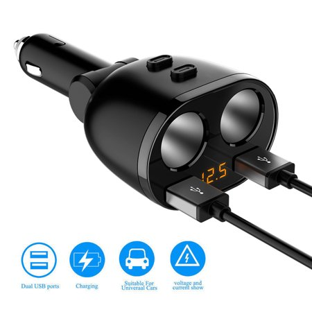 Dual USB Car Charger Adapter with Voltage LED Display, 1 to 2 Sockets Cigarette Lighter Splitter for Universal Cellphone, 12-24V Voltage, Suitable for Various