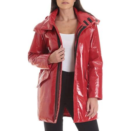 Patent Faux Leather Raincoat