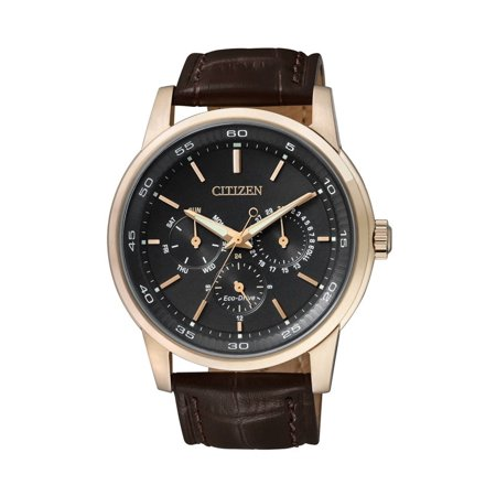 (Citizen Eco Drive Men's Dress BU2013-08E Brown Leather Strap with Black Dial Watch)