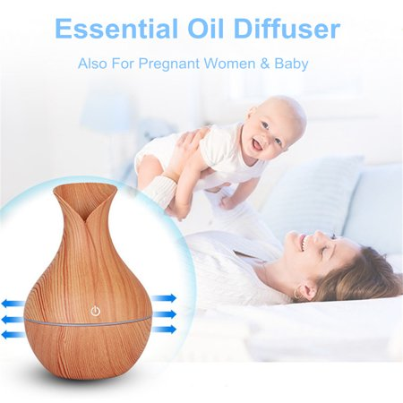 Usb 7 Color Led Touch Mode Wood Grain Air Humidifier