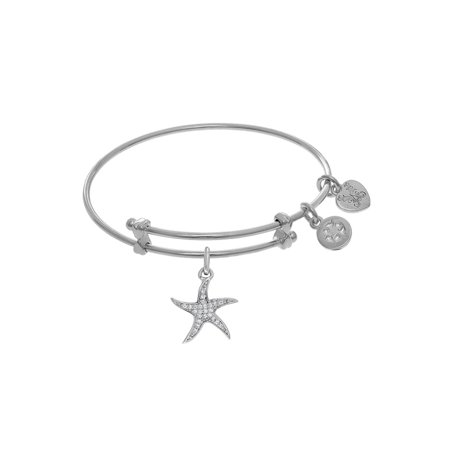 Angelica White Rhodium Over BrassCZ Star Fish Tween Bangle Charm 6