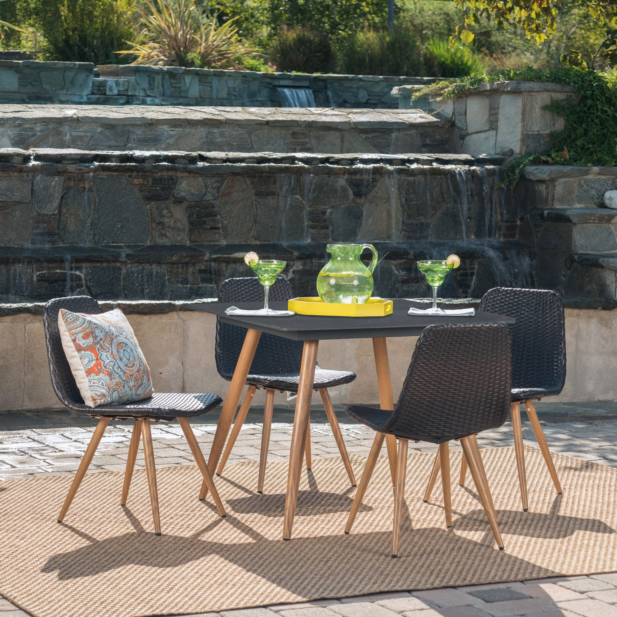 Christopher Knight Home Gila Outdoor 5-Piece Square Wicker Tempered Glass Dining Set by