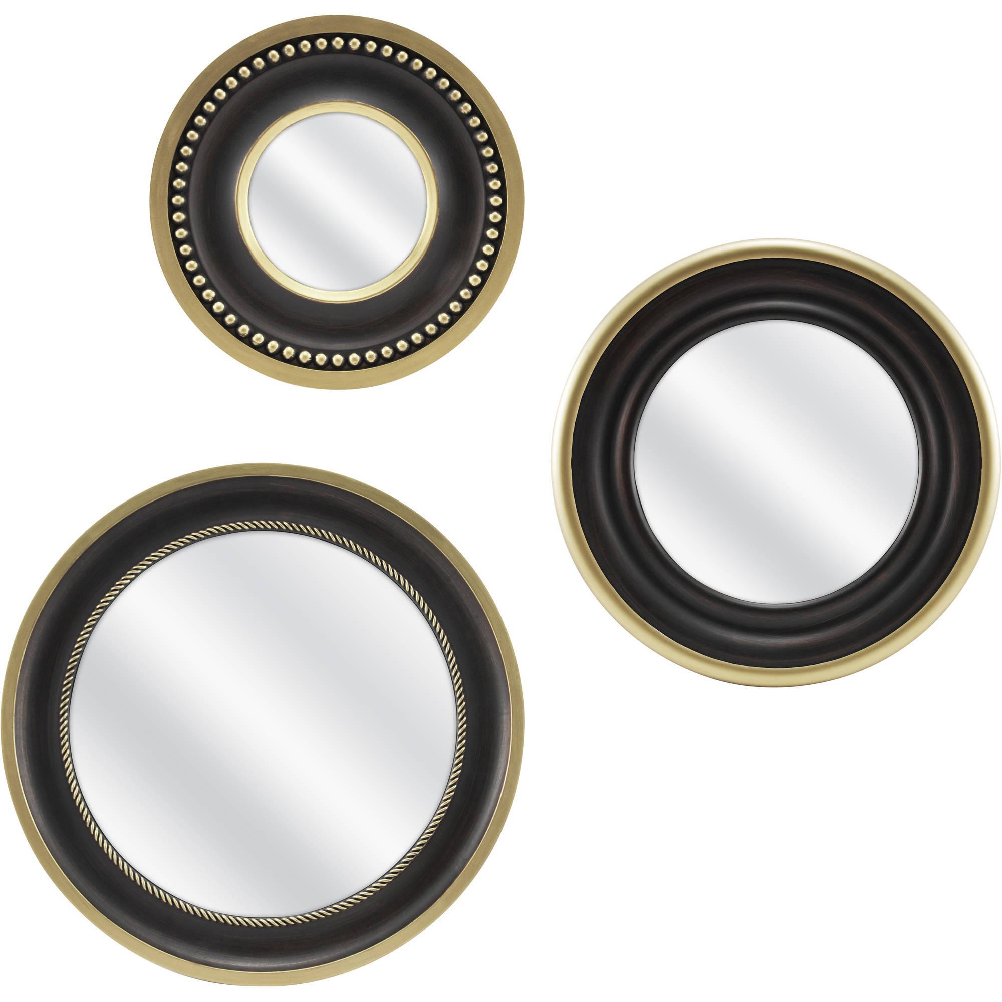 Mainstays 3-Piece Round Mirror Set, Bronze by