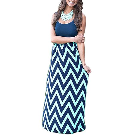 Womens Boho Chevron Striped Empire Tank Top Long Dress Beach Maxi Dresses