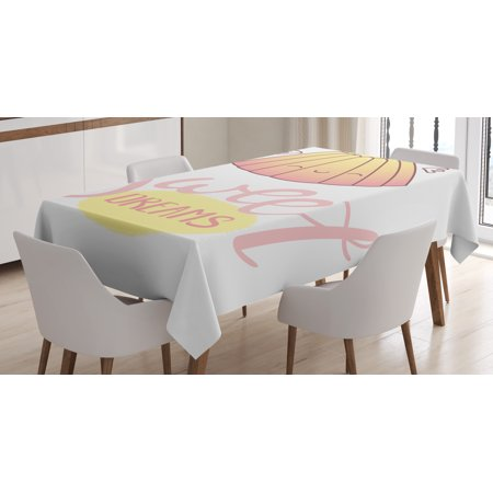 Sweet Dreams Tablecloth, Cute Sleeping Jelly with Wings Design Hand Lettering Calligraphy Dessert Theme, Rectangular Table Cover for Dining Room Kitchen, 60 X 84 Inches, Cream Pink, by Ambesonne - Jelly Cloth