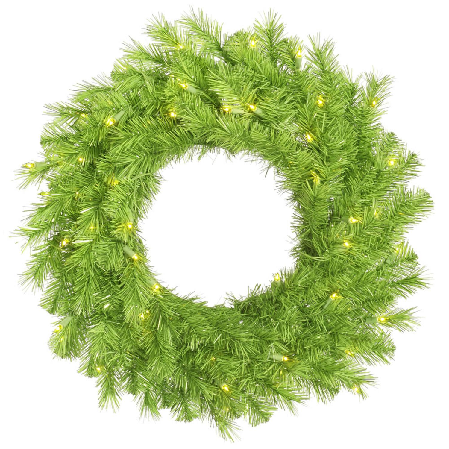 "30"" Pre-Lit Green Tinsel Artificial Christmas Wreath"