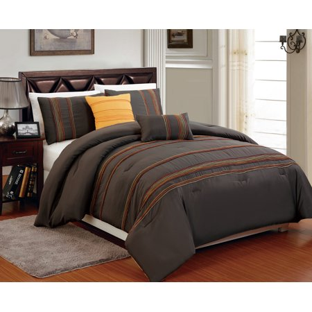 Beautiful 5 PC Brown with Marigold, Orange and Yellow Overlock Stitch, Full Size Comforter Bedding Set