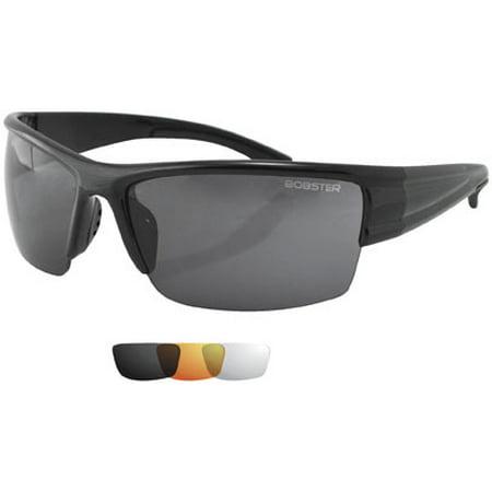 Bobster Caliber Interchangeable Sunglasses - Black Frame and 3 Sets of Lenses EC