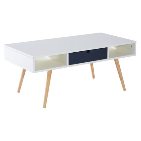HomCom 40 in. Coffee Table with Blue Drawer