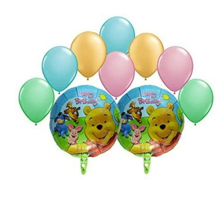 winnie the pooh and friends happy birthday balloon bouquet 10 pc - Happy Halloween Winnie