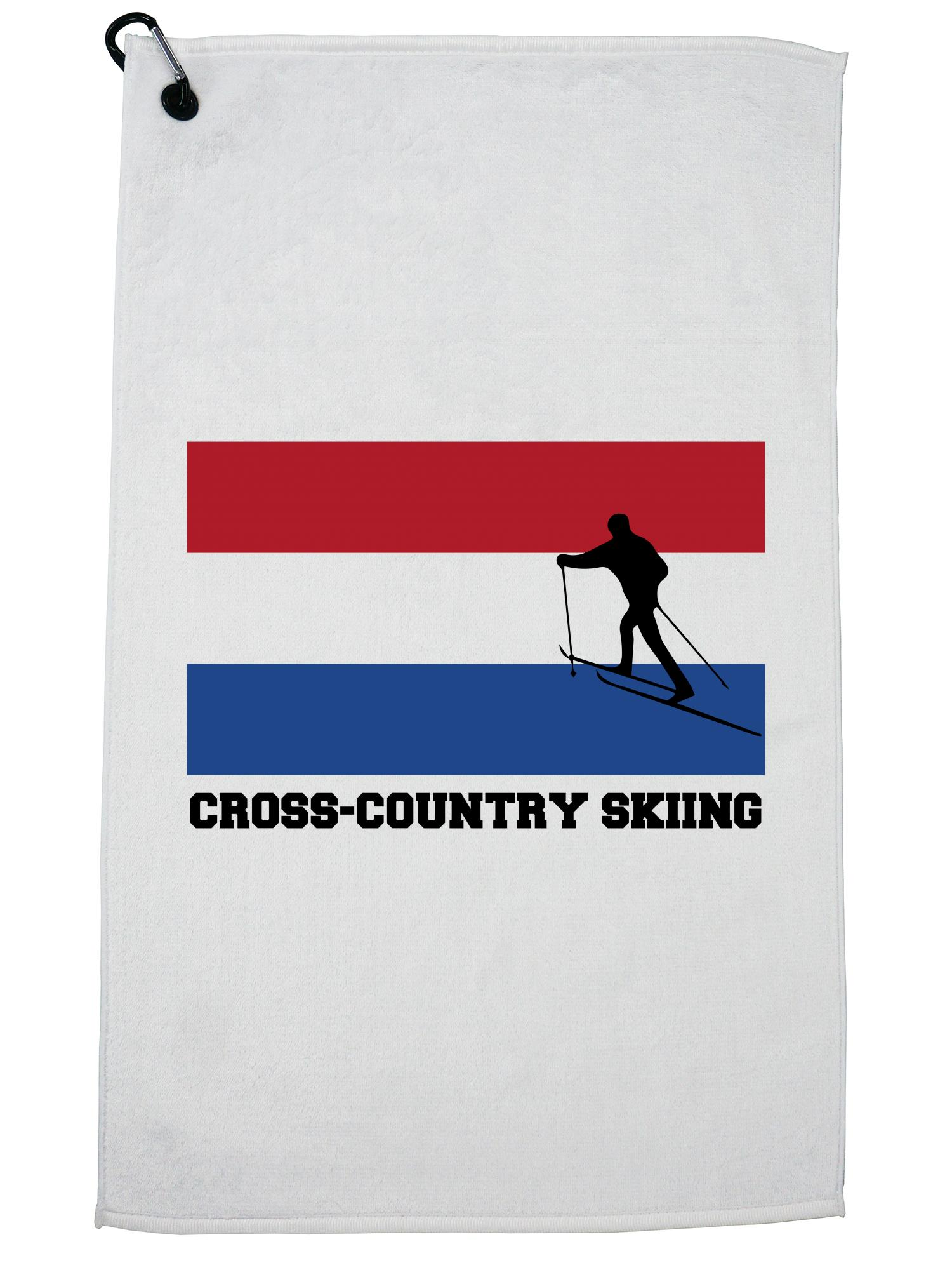 Netherlands Olympic Cross-Country Skiing Flag Silhouette Golf Towel with Carabiner Clip by Hollywood Thread
