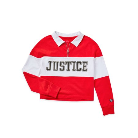 Justice Girls Long Sleeve 90s Collection Collared Top, Sizes 5-18