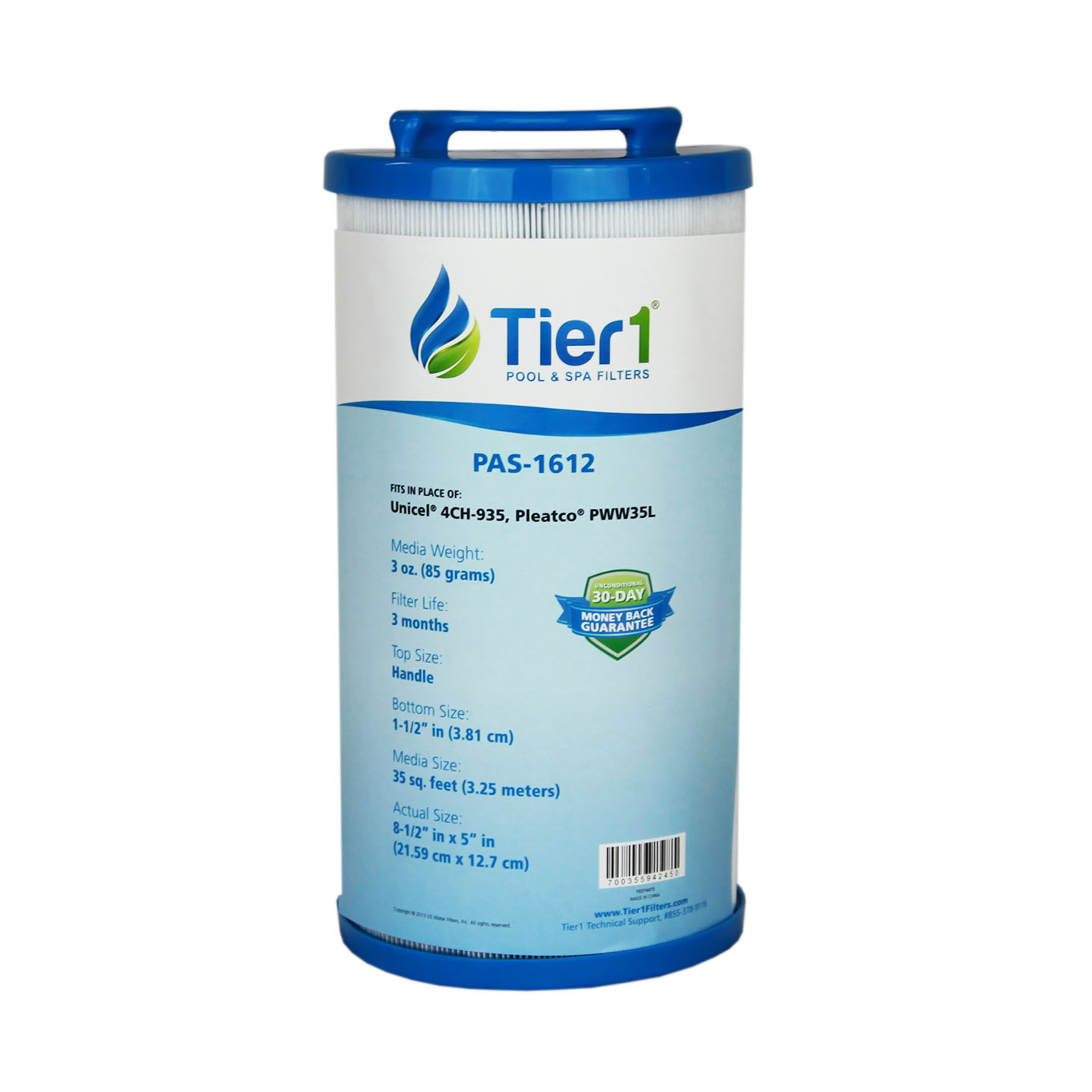 Tier1 Replacement for 35 Waterway 817-4035, Teleweir 35 SF, Pleatco PWW35L, Unicel 4CH-935 Filter Cartridge