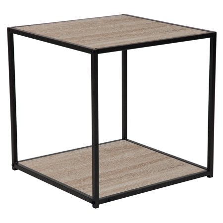 Flash Furniture Midtown Collection Sonoma Oak Wood Grain Finish End Table with Black Metal Frame